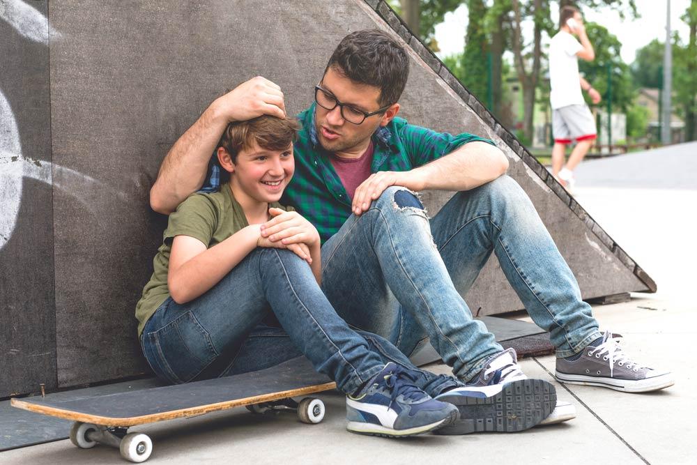 Kids talking at park
